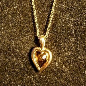 Jewelry - Vintage gold tone topaz heart pendant